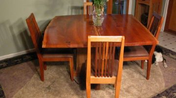 Custom Contemporary Rustic Claro Walnut Slab Desk 1