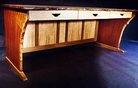 Custom Contemporary Rustic Claro Walnut Slab Desk 2