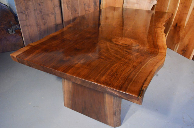 Custom Contemporary Rustic Claro Walnut Slab Table The Rauff Table 1