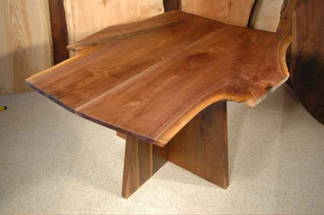Walnut Crotch Slab Custom Made Dining Room Table