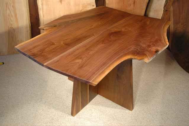 Walnut Crotch Slab Custom Made Dining Room Table