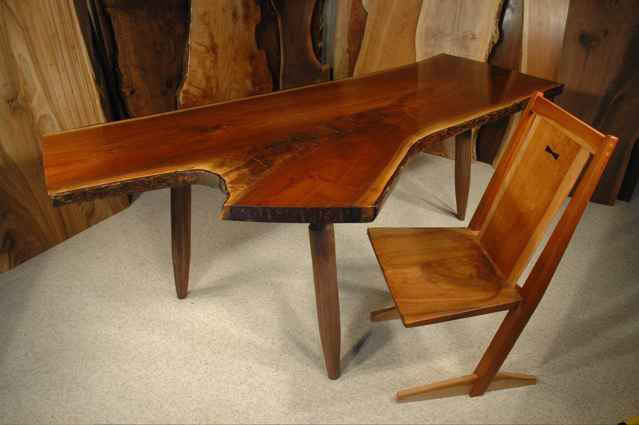 Walnut Crotch Slab Custom Dining Table