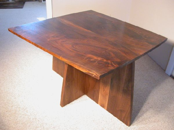 Figured Walnut Slab Pedestal Custom Dining Room Table