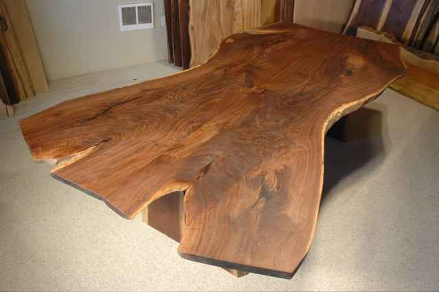 Custom Walnut Crotch Slab Dining Room Table