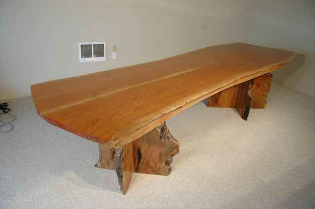 Book matched Cherry Wood Slab Custom Made Dining Room Table