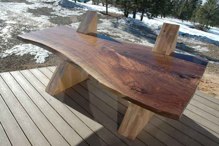 Custom handmade Walnut Slab top cantilevered executive desk