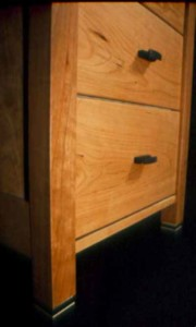 The Zuckerman handmade executive cherry custom desk with ebony drawer pulls and butterflies