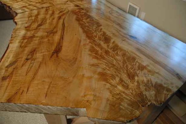 Recycled book matched maple crotch slab custom desk