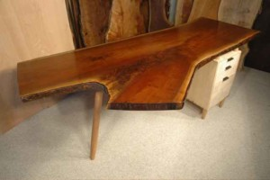 Rustic Handmade Walnut Crotch Slab Custom Desk