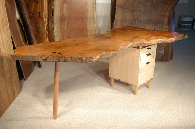 Maple Burl Slab Handmade Custom Desk