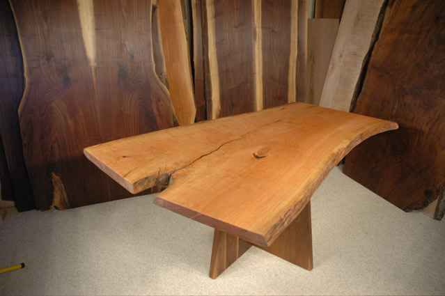Handmade Rustic Cherry Crotch Slab Executive Desk