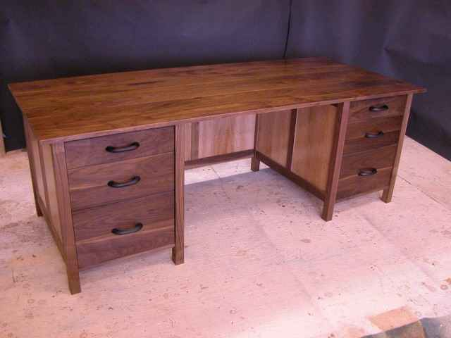 Walnut and Sycamore handmade custom executive desk with 6 drawers