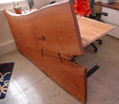 Custom Handmade Executive Desk – Cherry slab front and ambrosia maple slab top