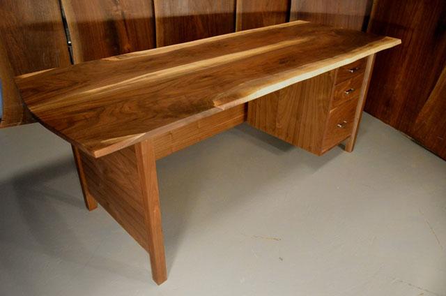 Walnut desk with 3 drawer pedestal