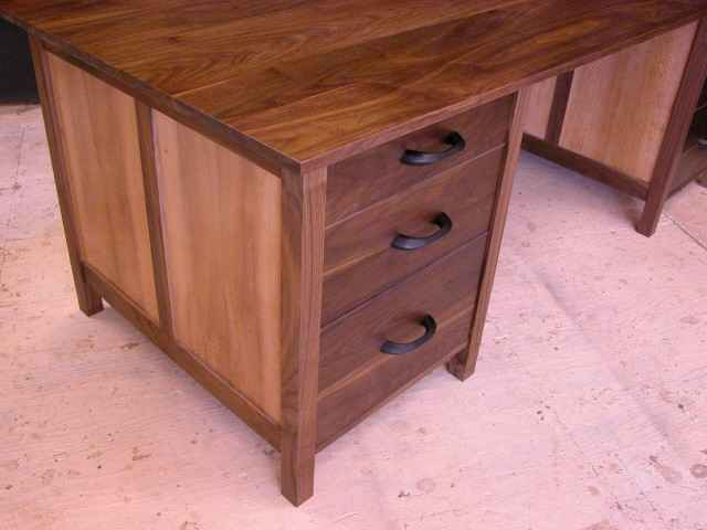 Custom Walnut and Sycamore executive computer desk