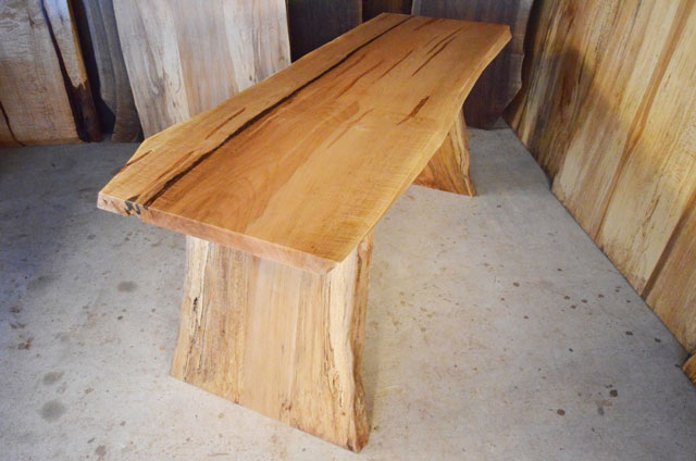 Extreme curly maple natural edge desk