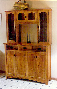 Custom Handmade Rustic Oak China Cabinet Hutch 1