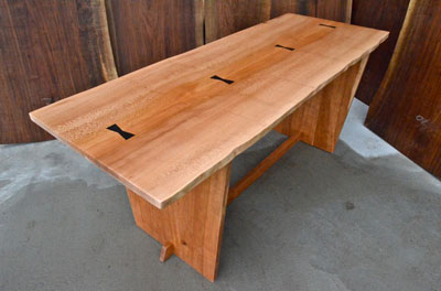 Custom Handmade Sycamore Slab Dining Table