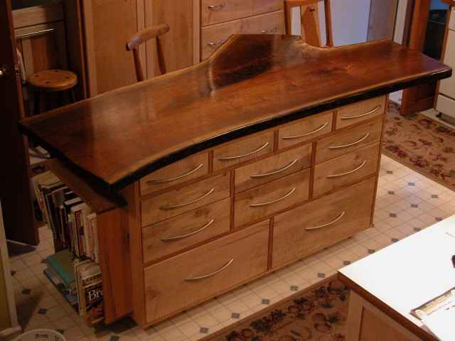 Custom Rustic Walnut Slab Kitchen Island