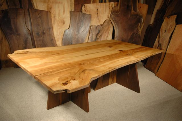8' Custom Rustic Ash Slab Dining Table