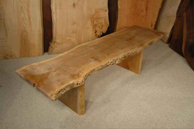 Curly maple and cherry slab custom wooden bench