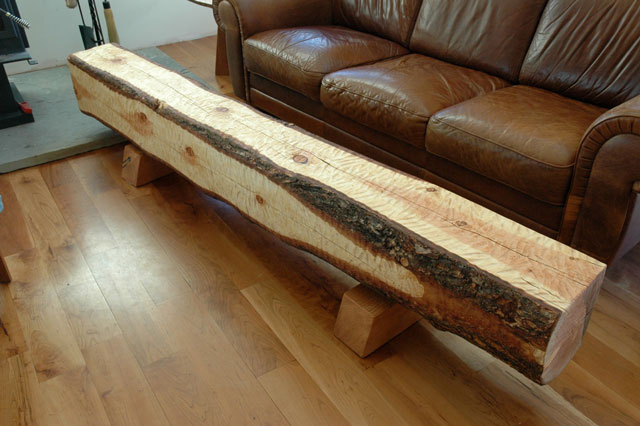 Custom Handmade Wooden Benches on Stools Made From Logs
