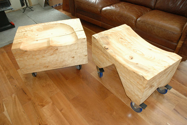 Two Custom Pine stools on casters