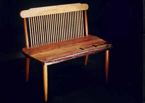Walnut slab handmade wooden bench