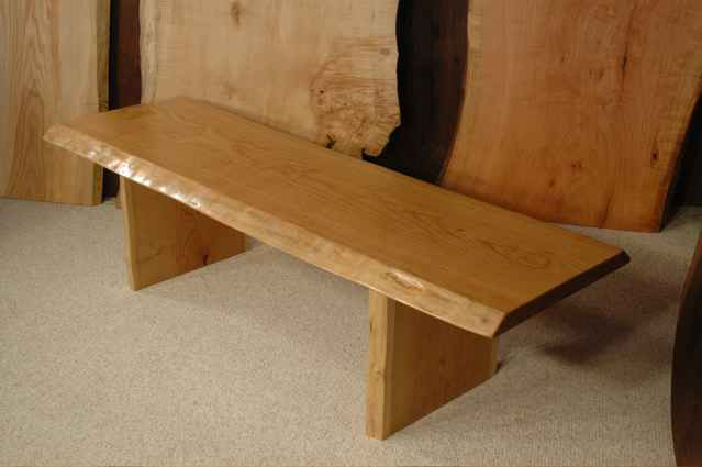 Cherry slab custom wooden bench