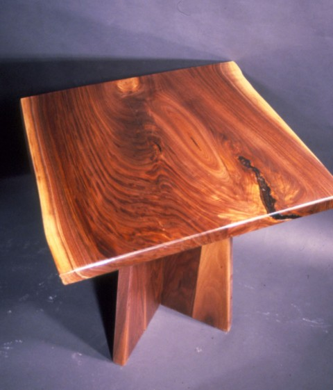 Custom Rustic Walnut Slab End Table