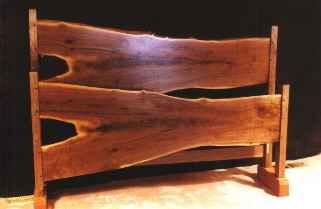 Custom Rustic Walnut Slab Log Bed 2