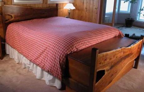 Custom Rustic Walnut Slab Log Bed