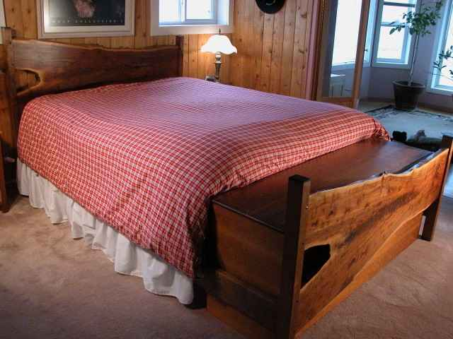 Custom Rustic Walnut Slab Salvaged Wood Log Bed