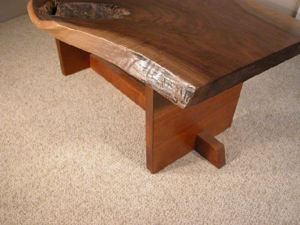 Custom Slab Walnut Coffee Table with Cherry Base 1