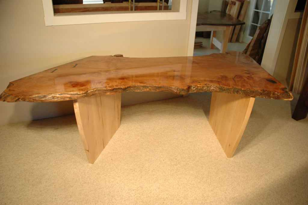 Single slab of burled maple makes a one of a kind table