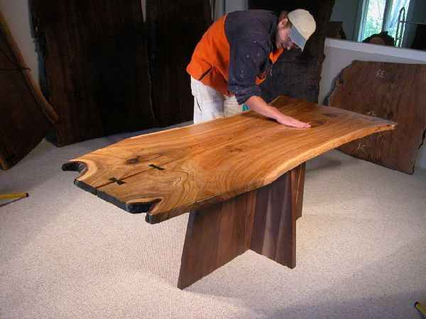 "The ""Asch"" Siberian Elm table with solid black walnut pedestal custom table base"