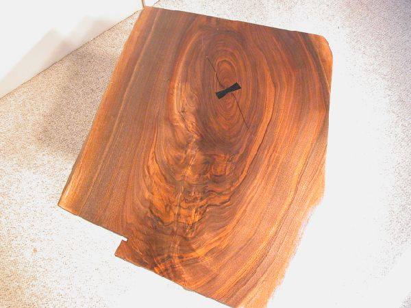 Custom Walnut Slab Coffee Table with Ebony Butterfly 2
