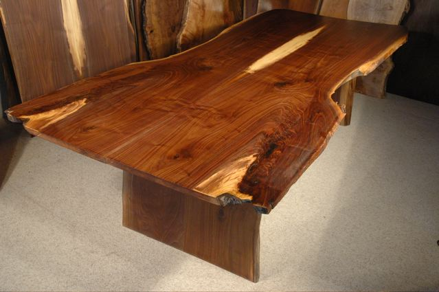 Custom Walnut Crotch Slab Dining Table A