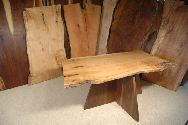 Custom Curly Burly 5′ Maple Slab Dining Table