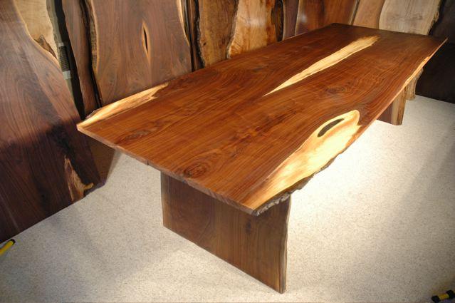 9′ Custom Walnut Crotch Slab Dining Table 1B