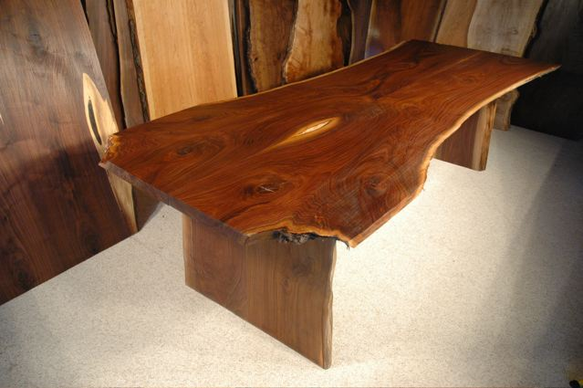 9' Custom Slotted Walnut Crotch Slab Dining Table