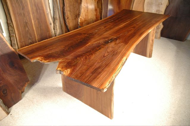 7.5′ Walnut Slab Crotch Custom Live Edge Dining Table with organic shape