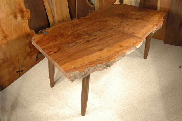 Custom Claro Walnut Burl Slab Dining Table