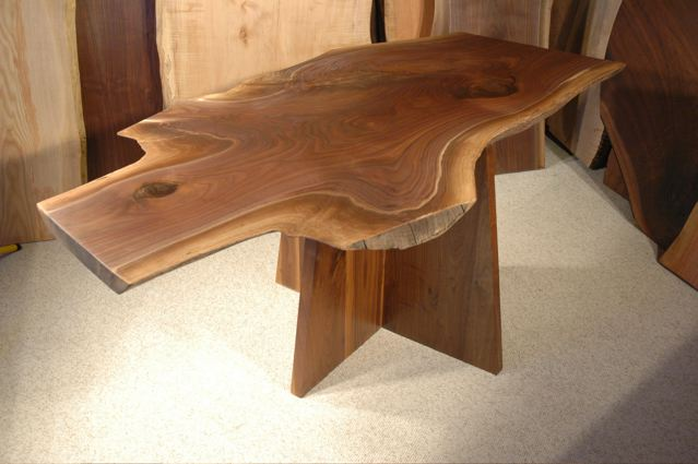 Salvaged Walnut Crotch Slab Custom Dining Table