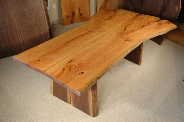 8′ Large Cherry Crotch Custom Slab Live Edge Dining Table with organic shape