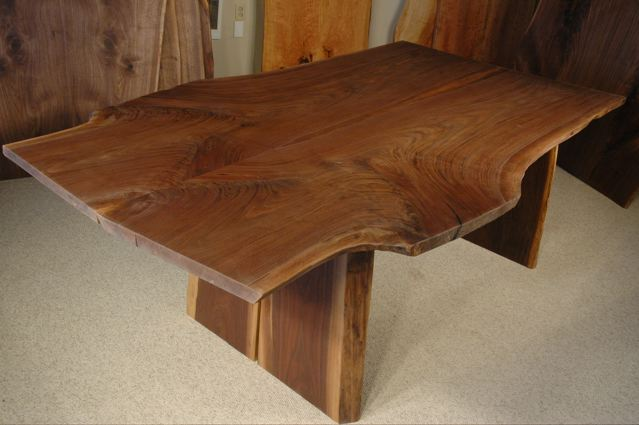 Double Walnut Crotch Slab Custom Dining Table