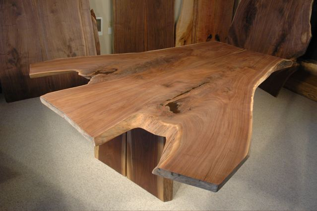 Organic Edge Walnut Slab Dining Table