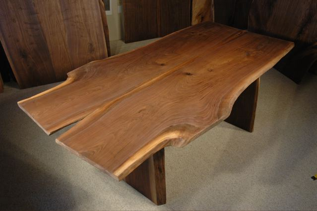 Organic shaped custom walnut crotch slab dining table for Unique shaped dining tables