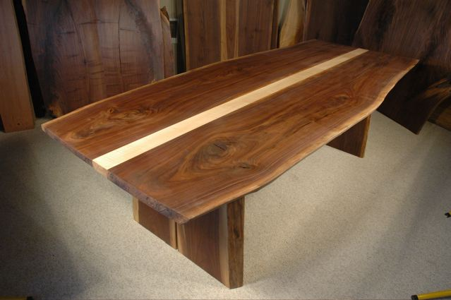8.5′ x 43″ Curly Walnut Slab Custom Live Edge Dining Table