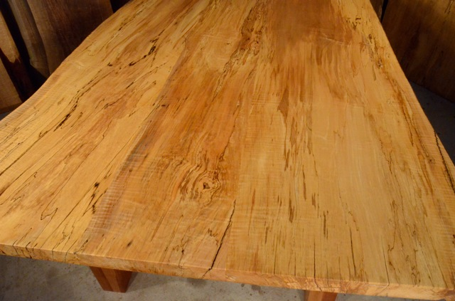 Reclaimed Old Wood Dining Room Table - Spalted Curly Maple
